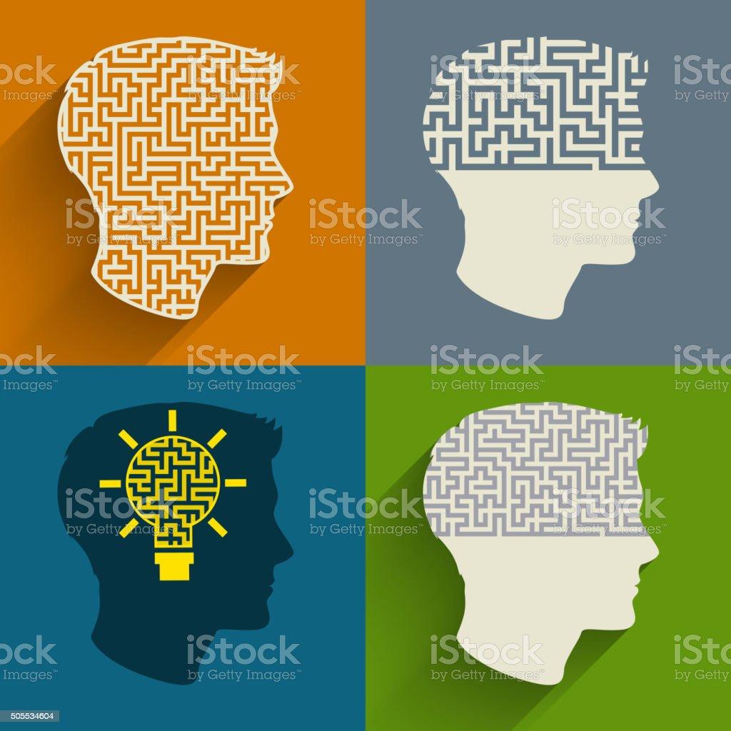 Symbol of the brain thinking vector art illustration