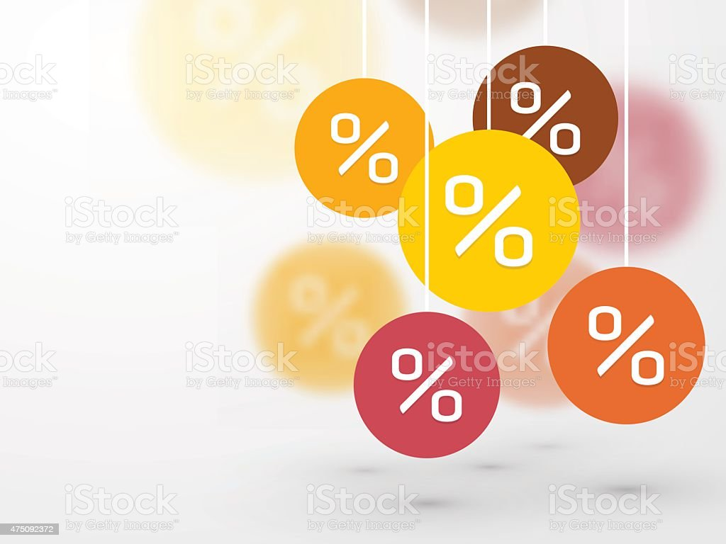 symbol percent discounts and blur icon on a background vector art illustration