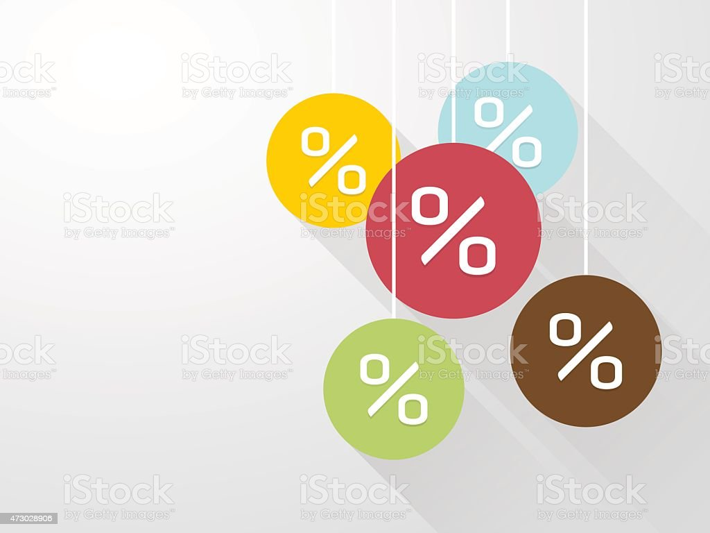 symbol percent discounts with long shadows vector art illustration