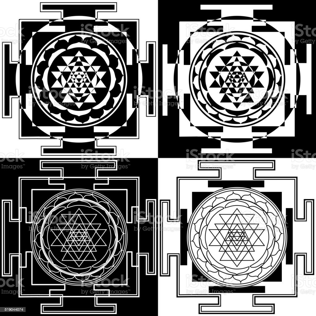 symbol Sri Yantra vector art illustration