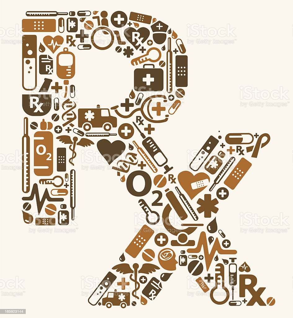 RX symbol using medical icons vector art illustration