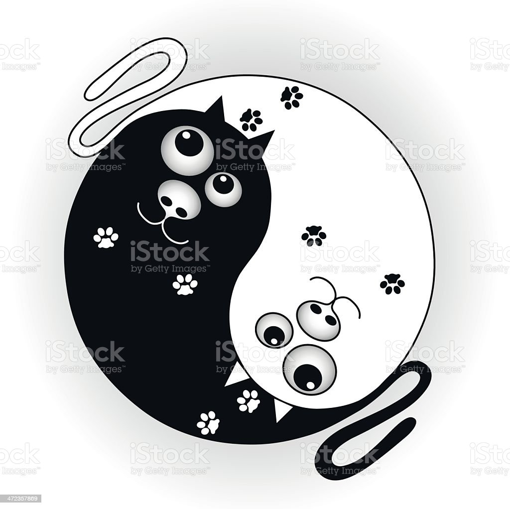 symbol ying yang with cats royalty-free stock vector art