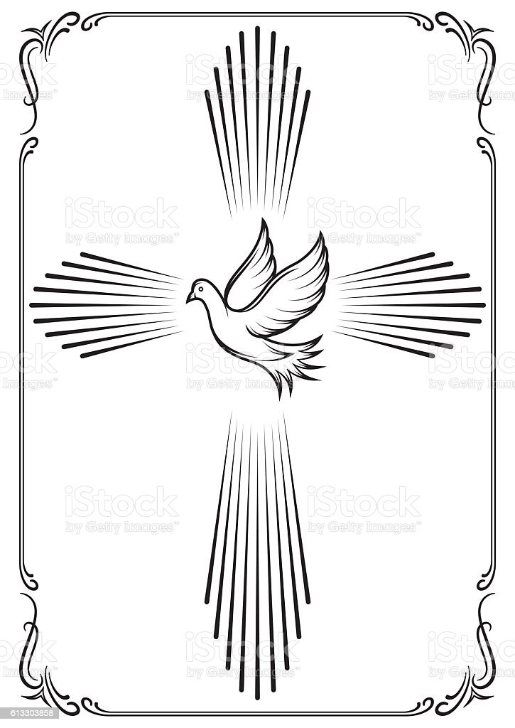 Symbolic cross and dove. Template emblem for church. vector art illustration