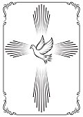 Symbolic cross and dove. Template emblem for church.