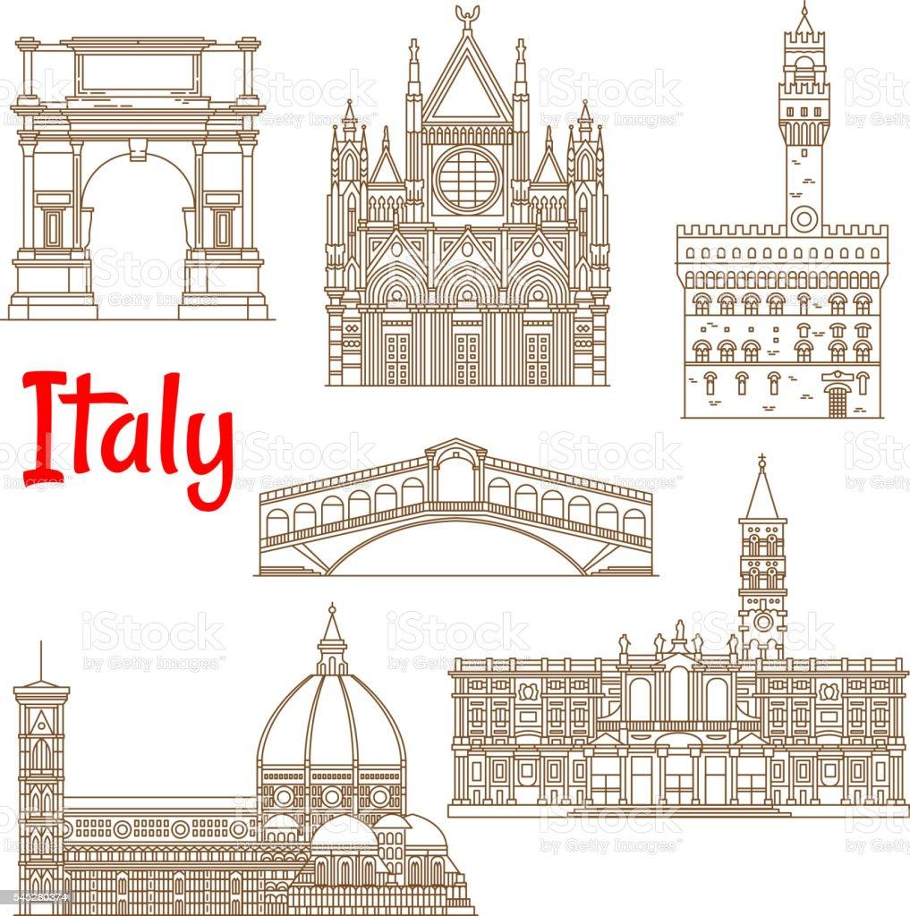 Symbolic landmarks of Italy linear symbols vector art illustration