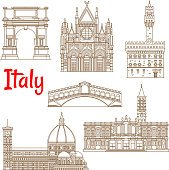 Symbolic landmarks of Italy linear symbols