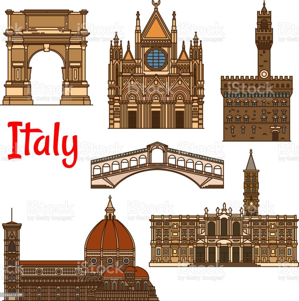 Symbolic travel landmarks of Italy thin line icon vector art illustration
