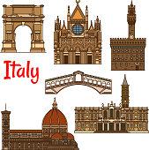 Symbolic travel landmarks of Italy thin line icon