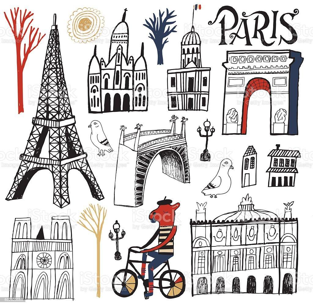 Symbols, Buildings and Tourism Landmarks of Paris France Set vector art illustration
