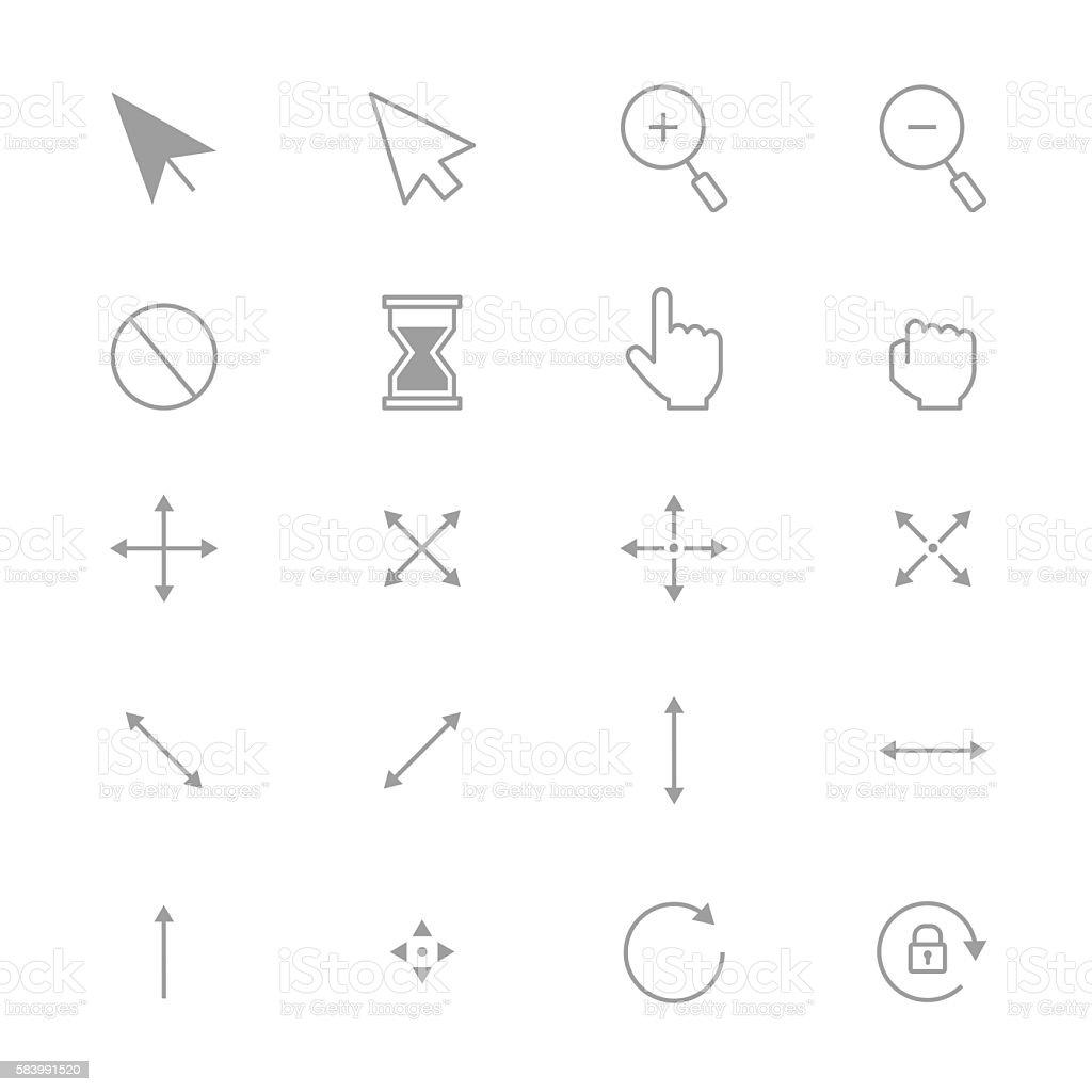 Symbols Internet Arrows and Internet Control Set Of Cursor Icons Line vector art illustration