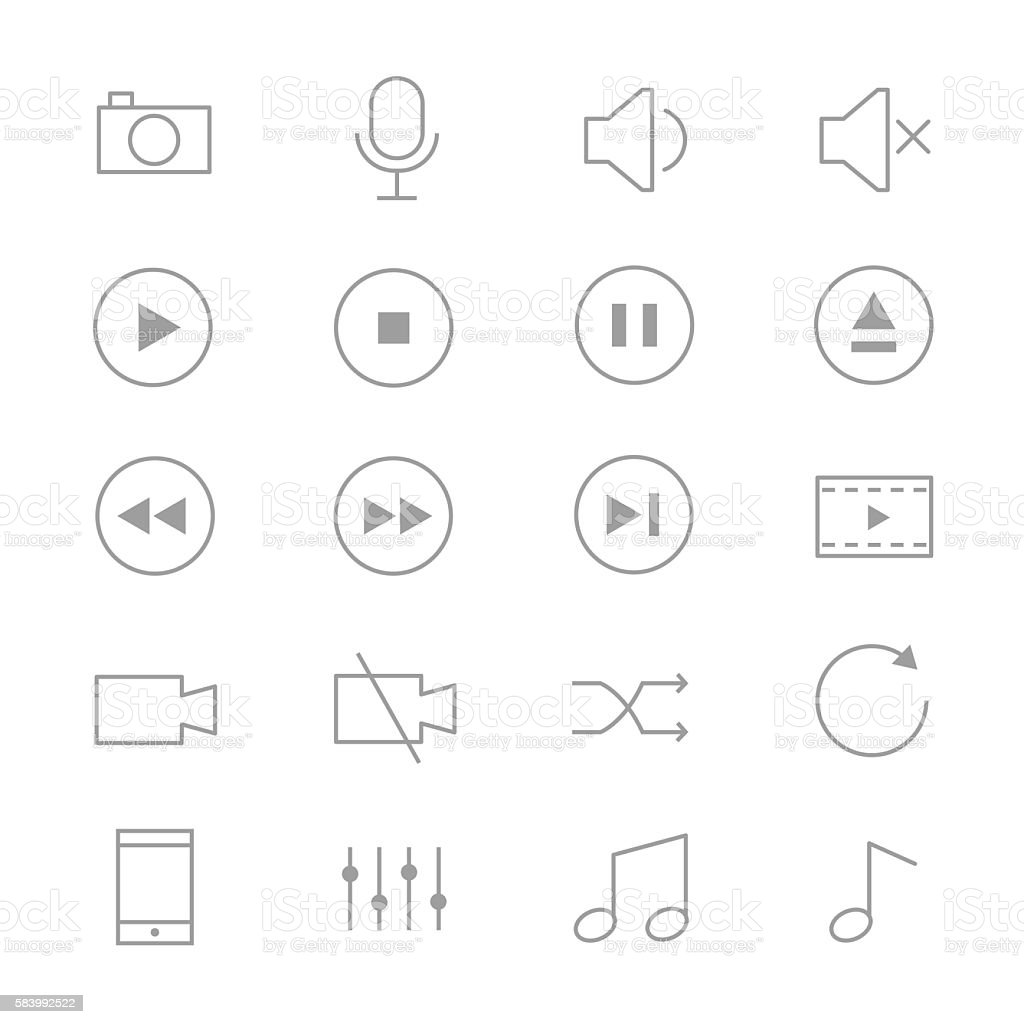 Symbols Music Control and Music Player Set Of Music Icons Line vector art illustration