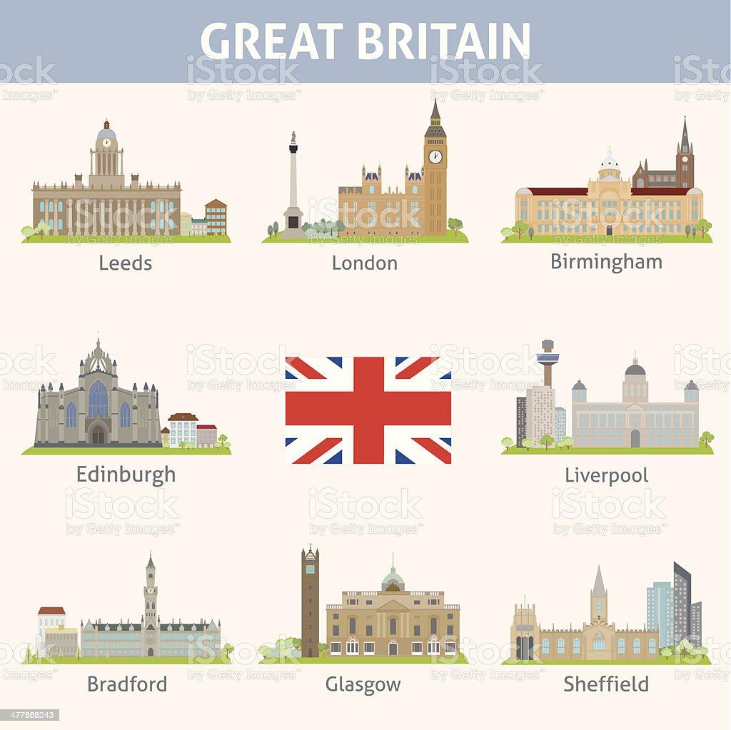 UK. Symbols of cities vector art illustration