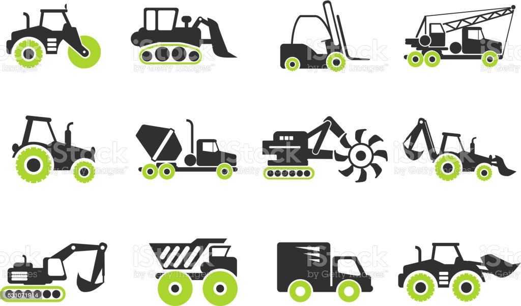 Symbols of Construction Machines vector art illustration
