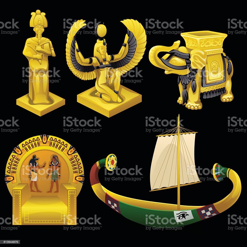 Symbols of Egypt, monuments, and other items vector art illustration