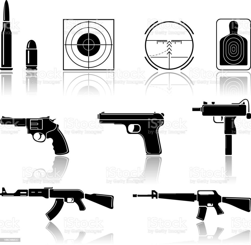 Symbols of guns and gun accessories vector art illustration