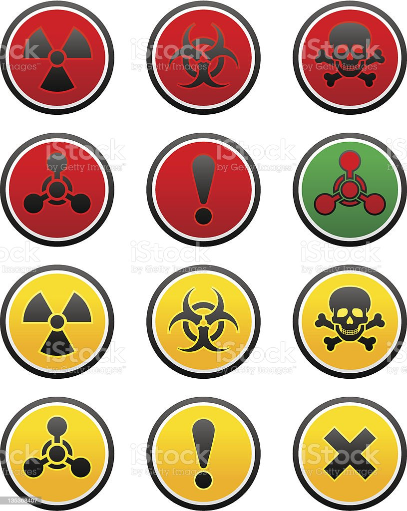 Symbols of hazard, chemical weapon sign royalty-free stock vector art