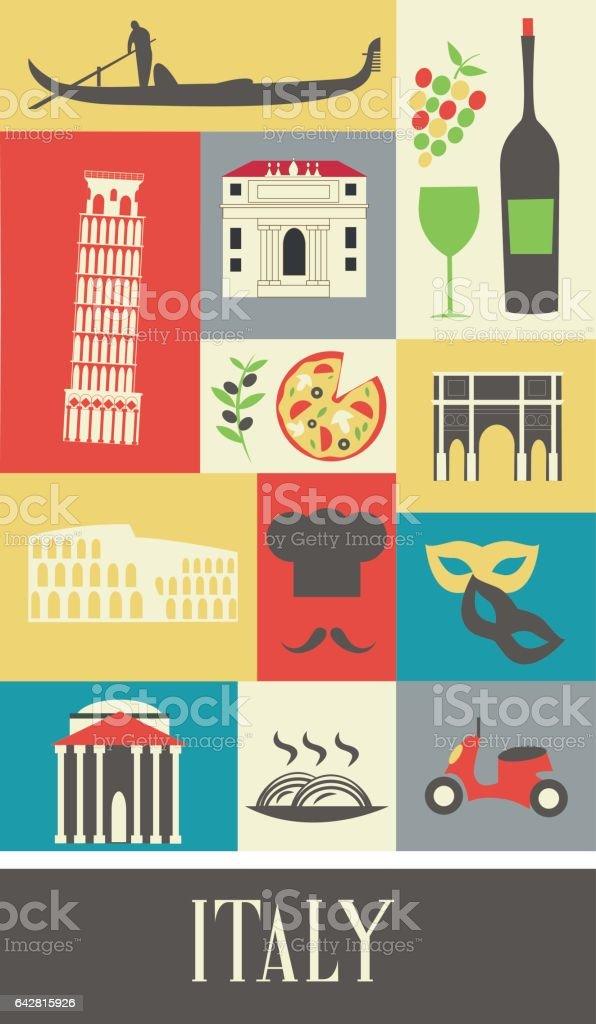 Symbols of  Italy. vector art illustration