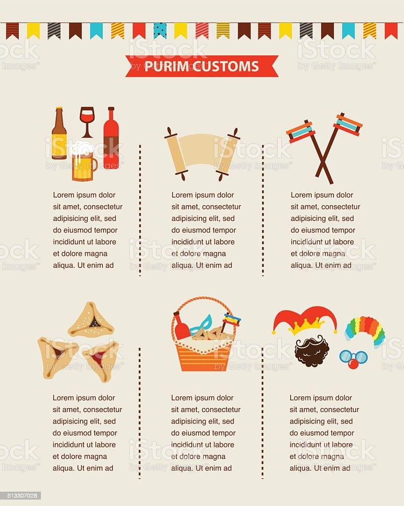 symbols of Jewish holiday purim. infographics design vector art illustration
