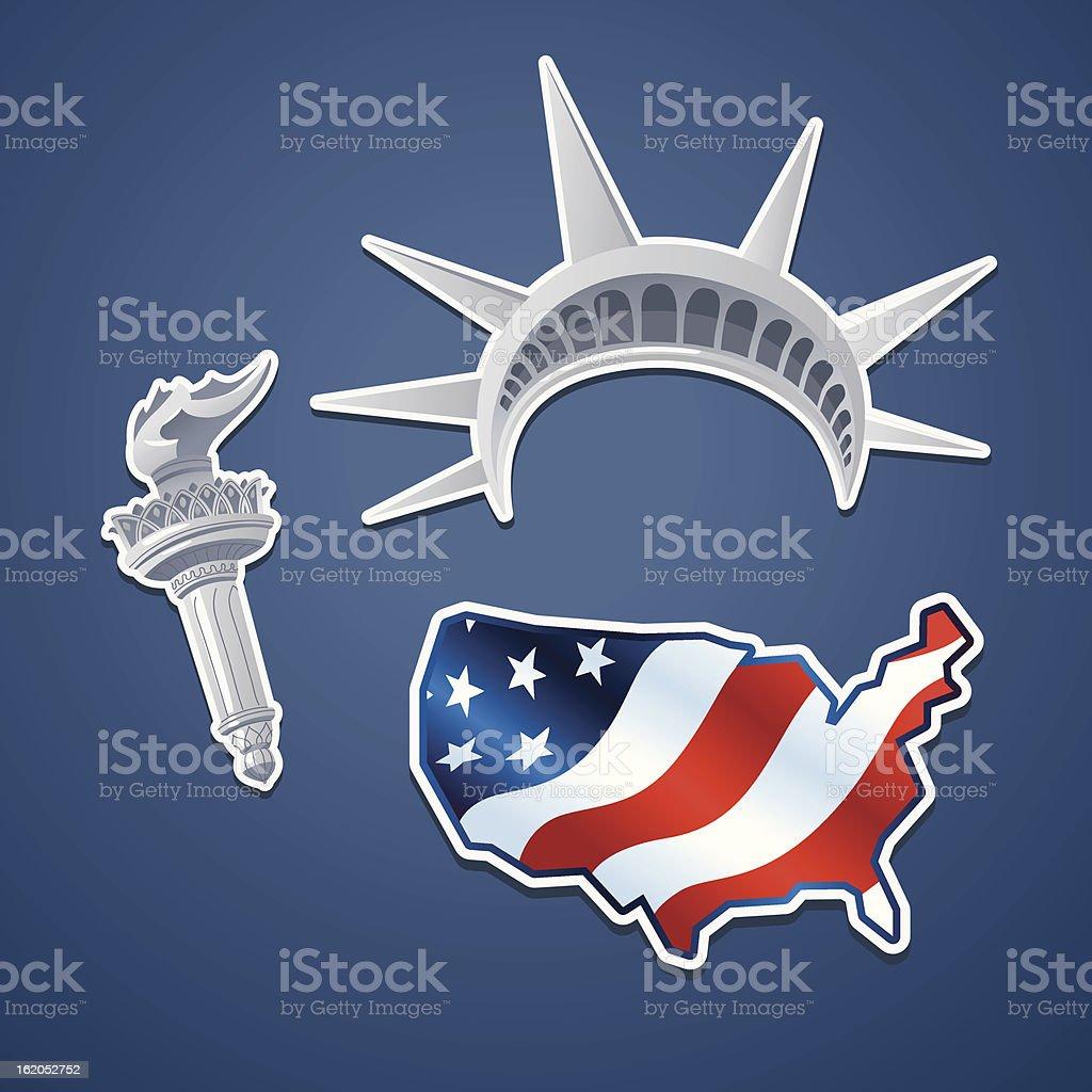 Symbols of liberty vector art illustration