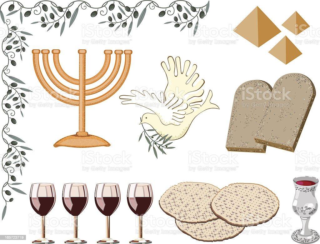 Symbols of Passover vector art illustration