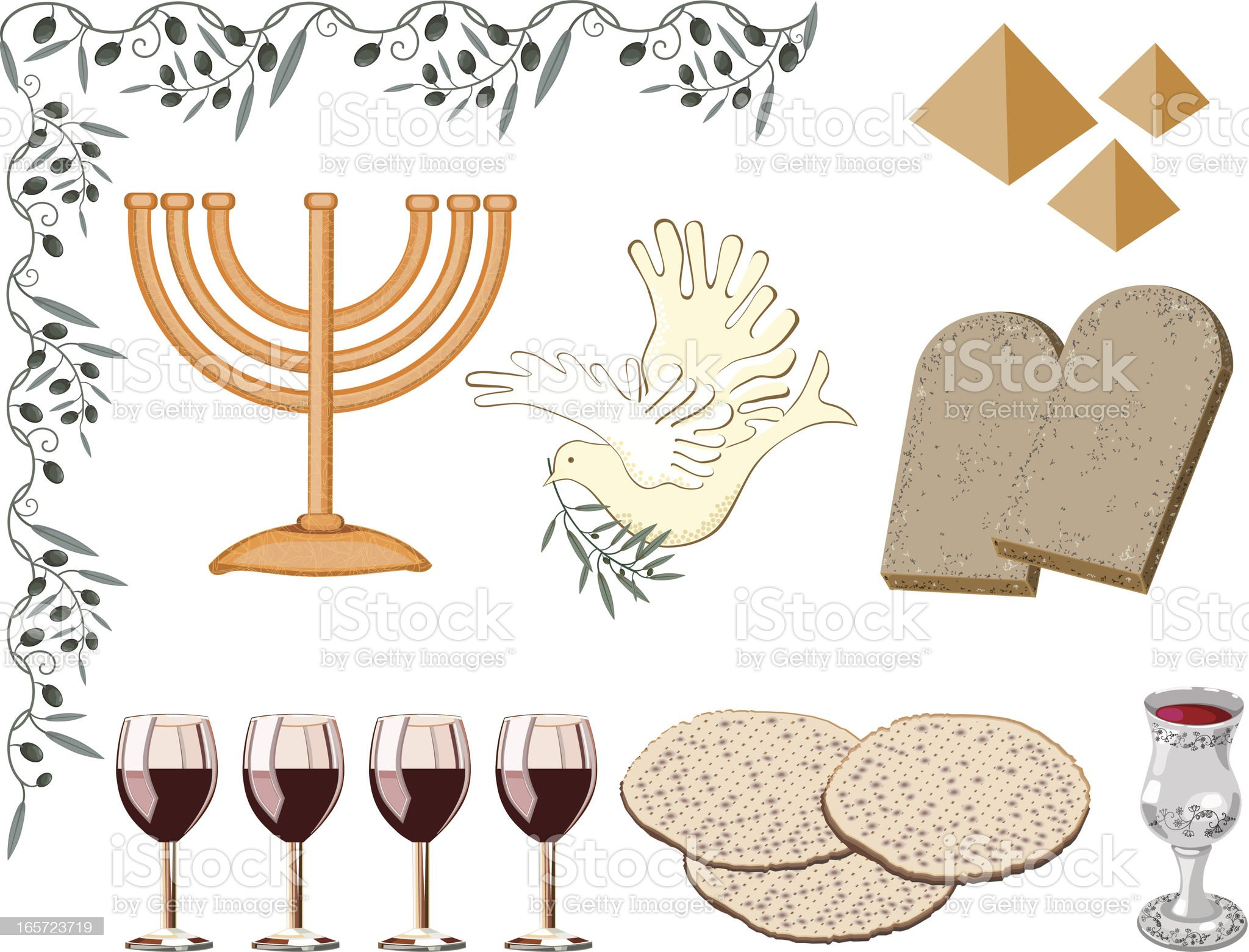Symbols of Passover royalty-free stock vector art