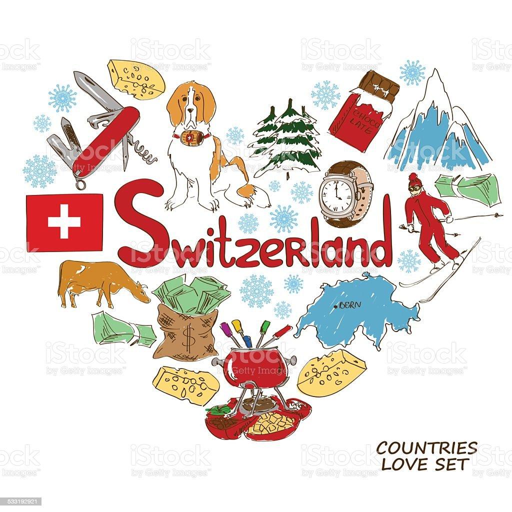 Symbols of Switzerland in heart shape concept vector art illustration