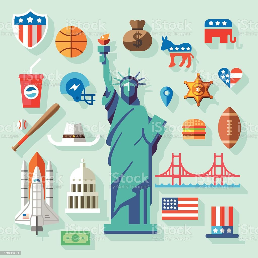 USA  Symbols vector art illustration