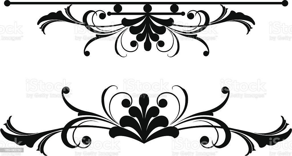 Symmetrical Black Leaf royalty-free stock vector art