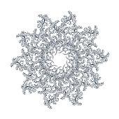 Symmetrical circular pattern mandala isolated on white background