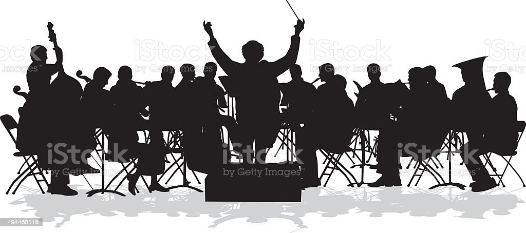 Symphonic Orchestra Silhouette vector art illustration