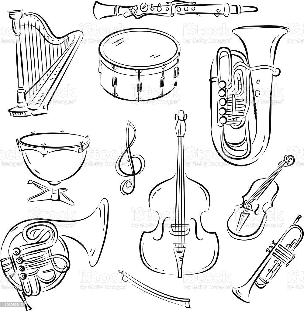 Symphony Orchestra Set royalty-free stock vector art