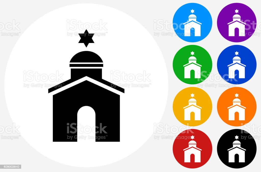 Synagogue Icon on Flat Color Circle Buttons vector art illustration