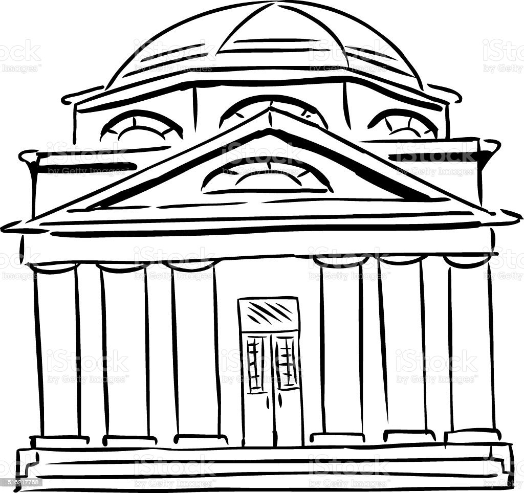 Synagogue with Domed Roof vector art illustration