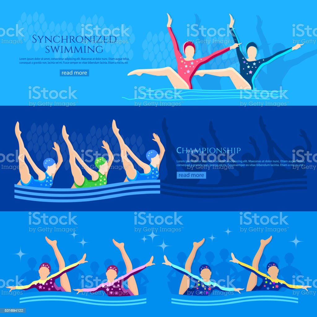 Synchronized swimming banners water sport swimmers team vector art illustration