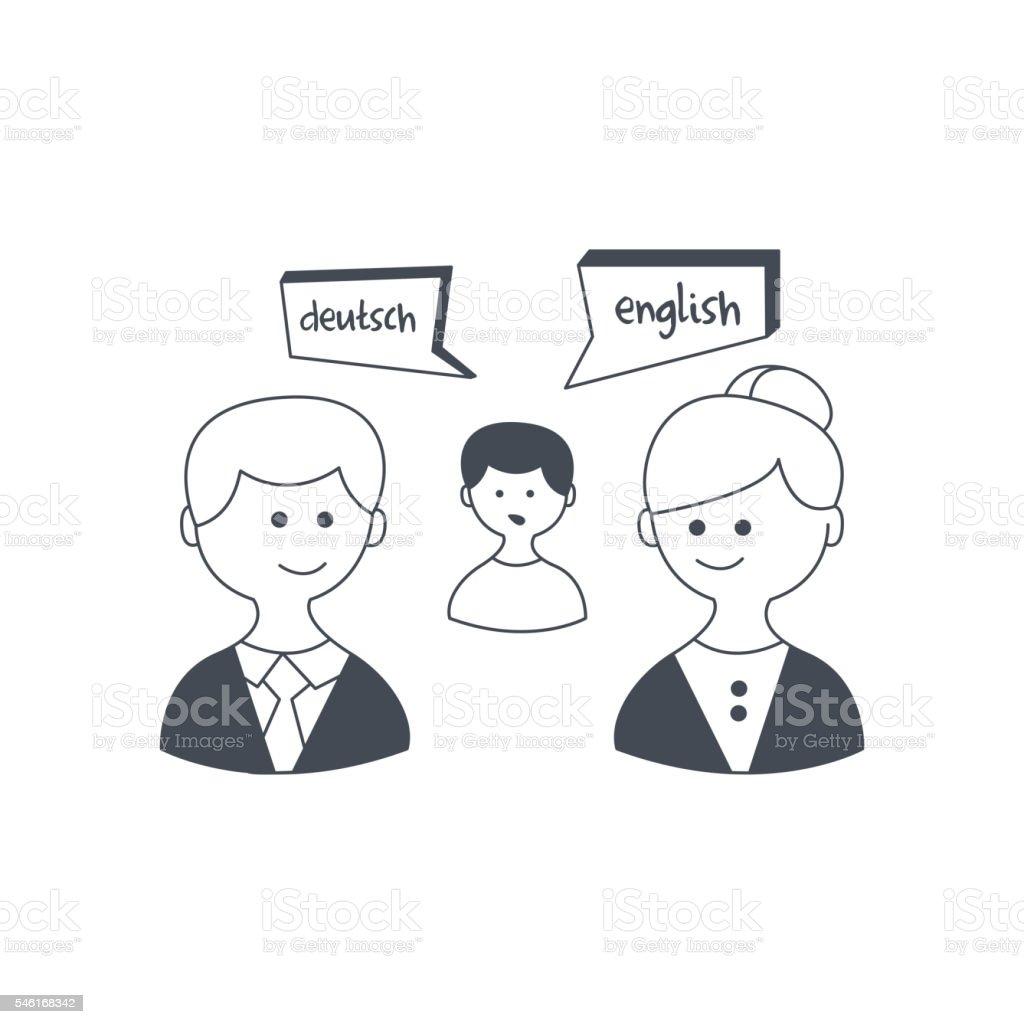 Synchronized Translation On Business Meeting vector art illustration