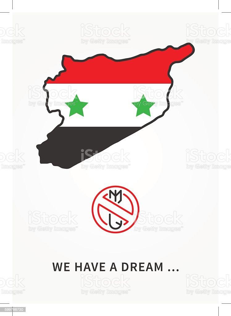 Syria antiwar linear vector illustration vector art illustration