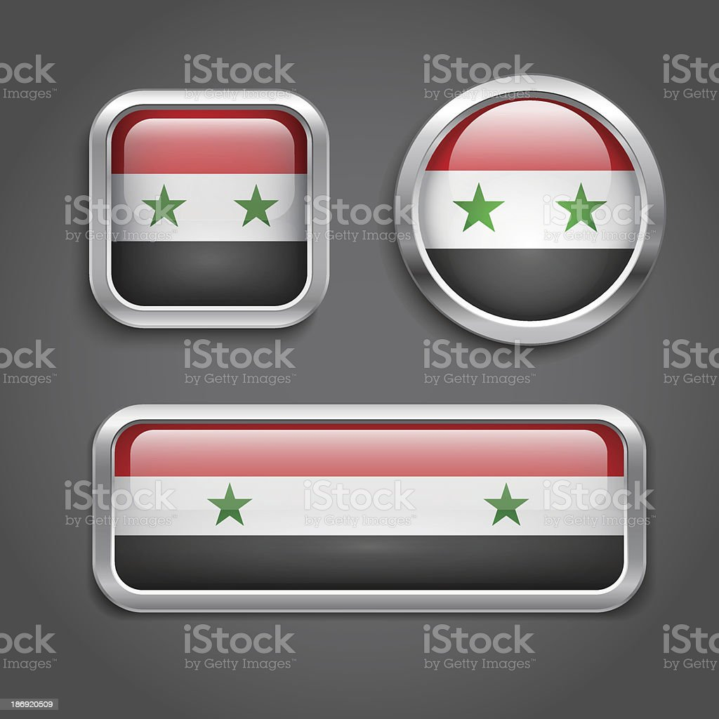 Syria flag glass buttons royalty-free stock vector art