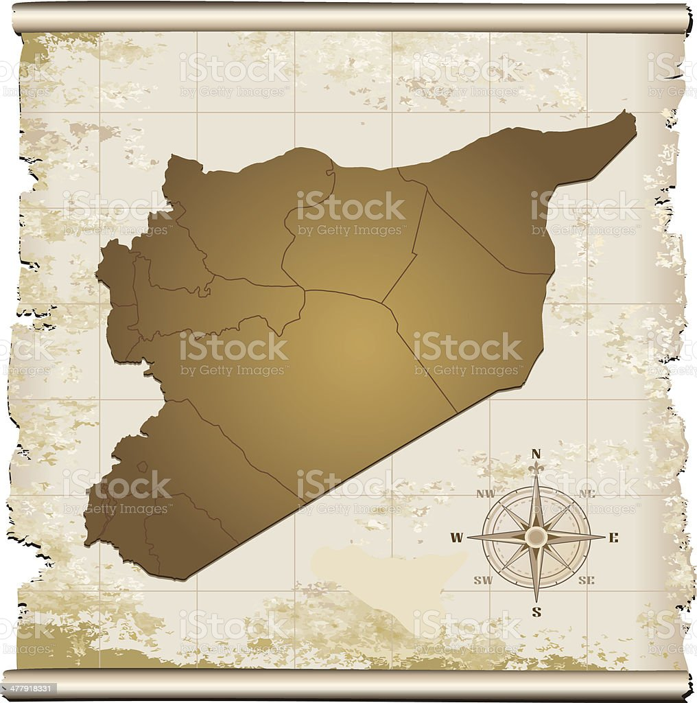 Syria grunge map royalty-free stock vector art