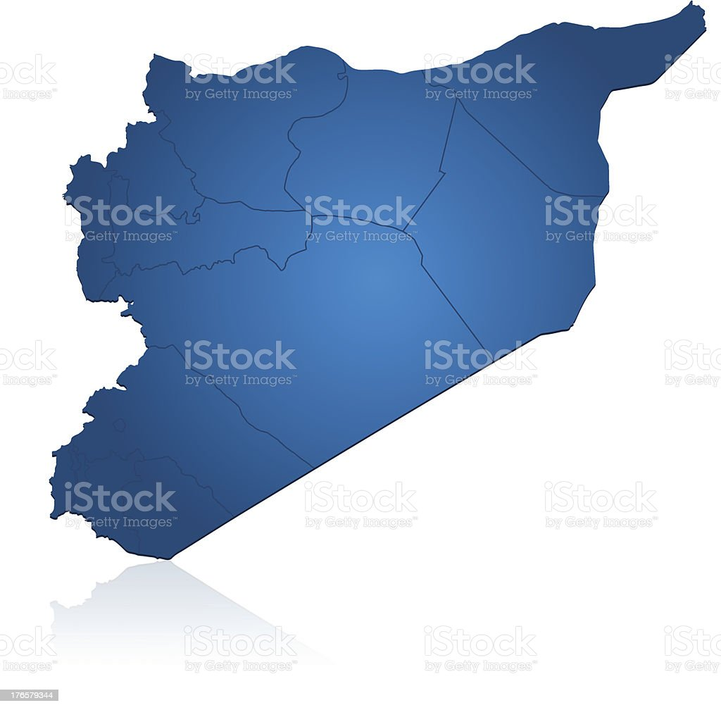 Syria map blue royalty-free stock vector art
