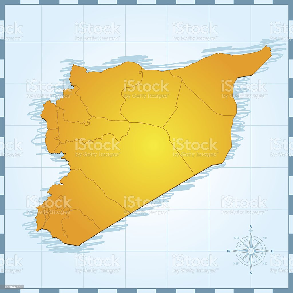 Syria map vintage royalty-free stock vector art