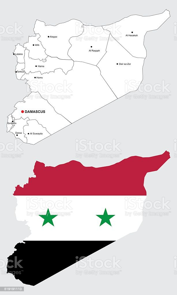 syrian maps, with syrian flag and borders of districts vector art illustration