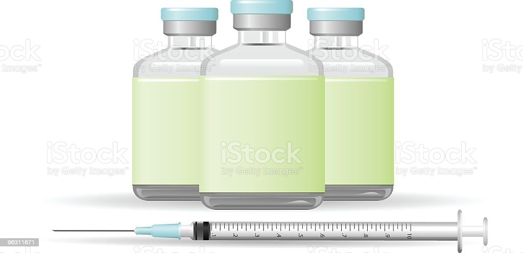 Syringe and Vaccine Illustration royalty-free stock vector art