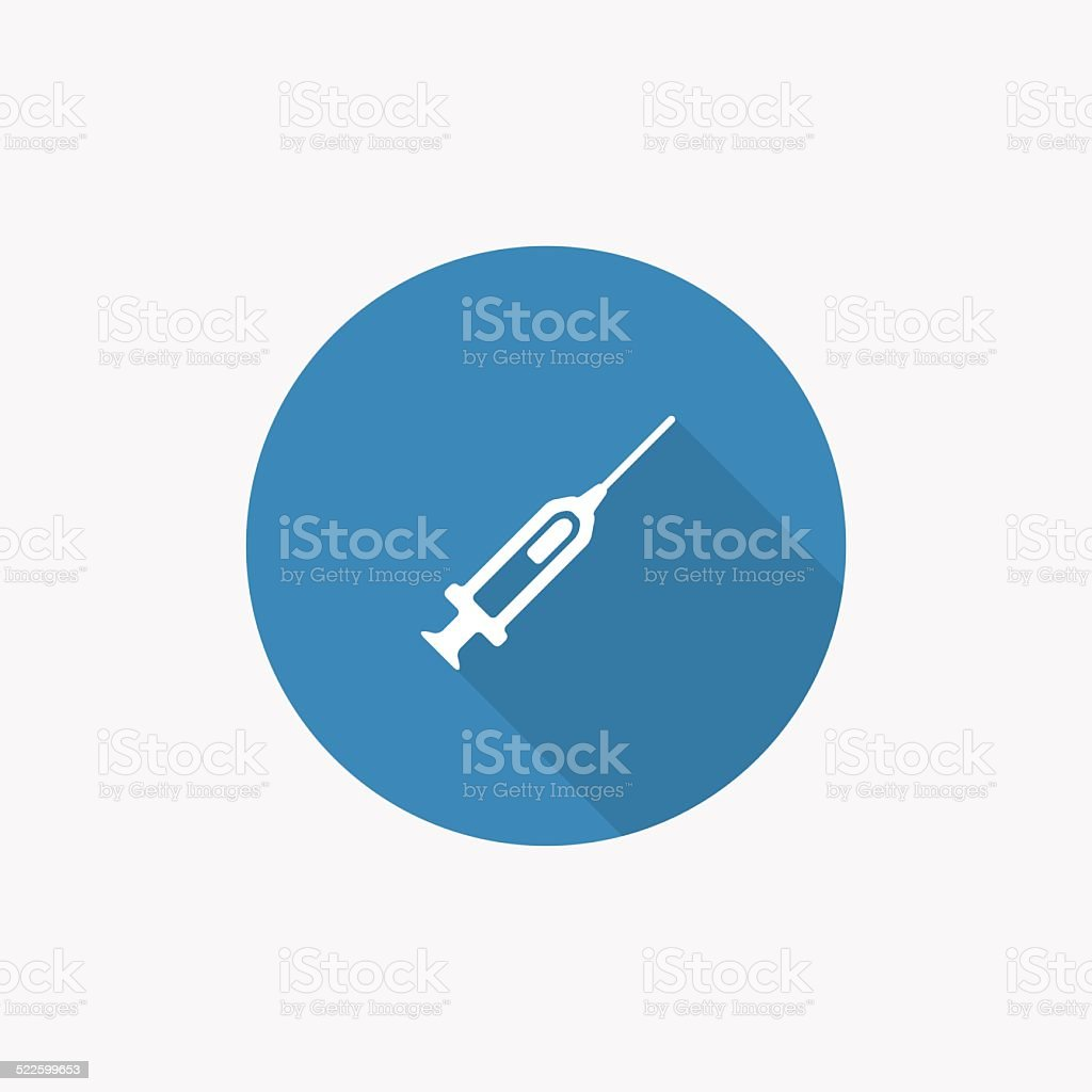 syringe Flat Blue Simple Icon with long shadow vector art illustration