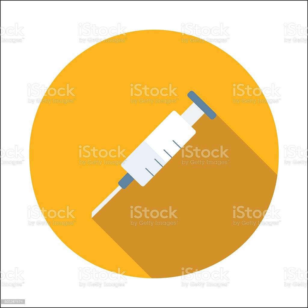 Syringe flat icon vector art illustration