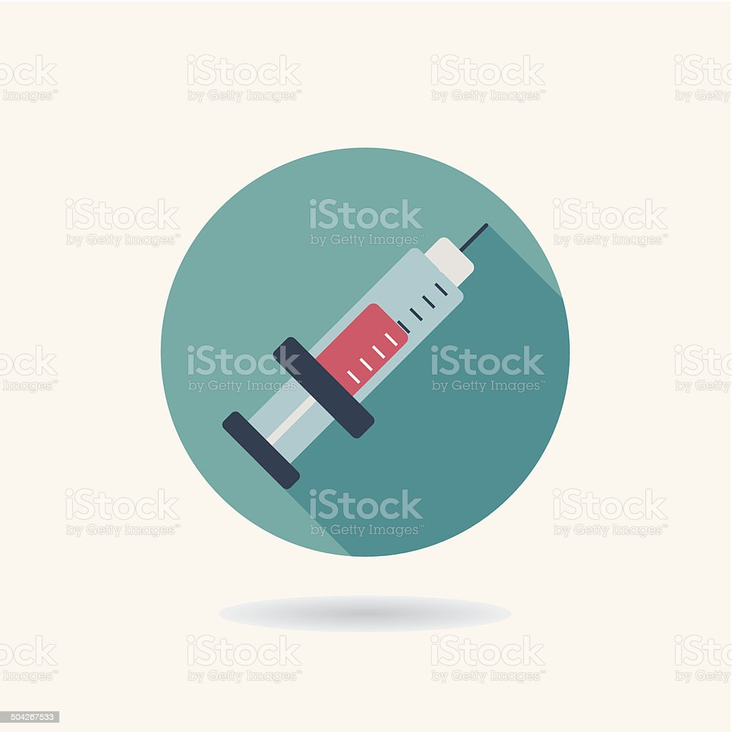 syringe Flat style Icon with long shadows vector art illustration
