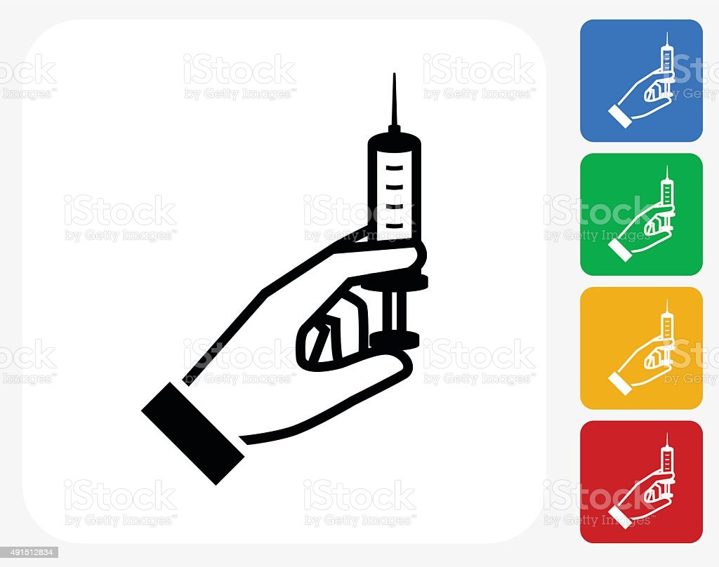 Syringe Icon Flat Graphic Design vector art illustration