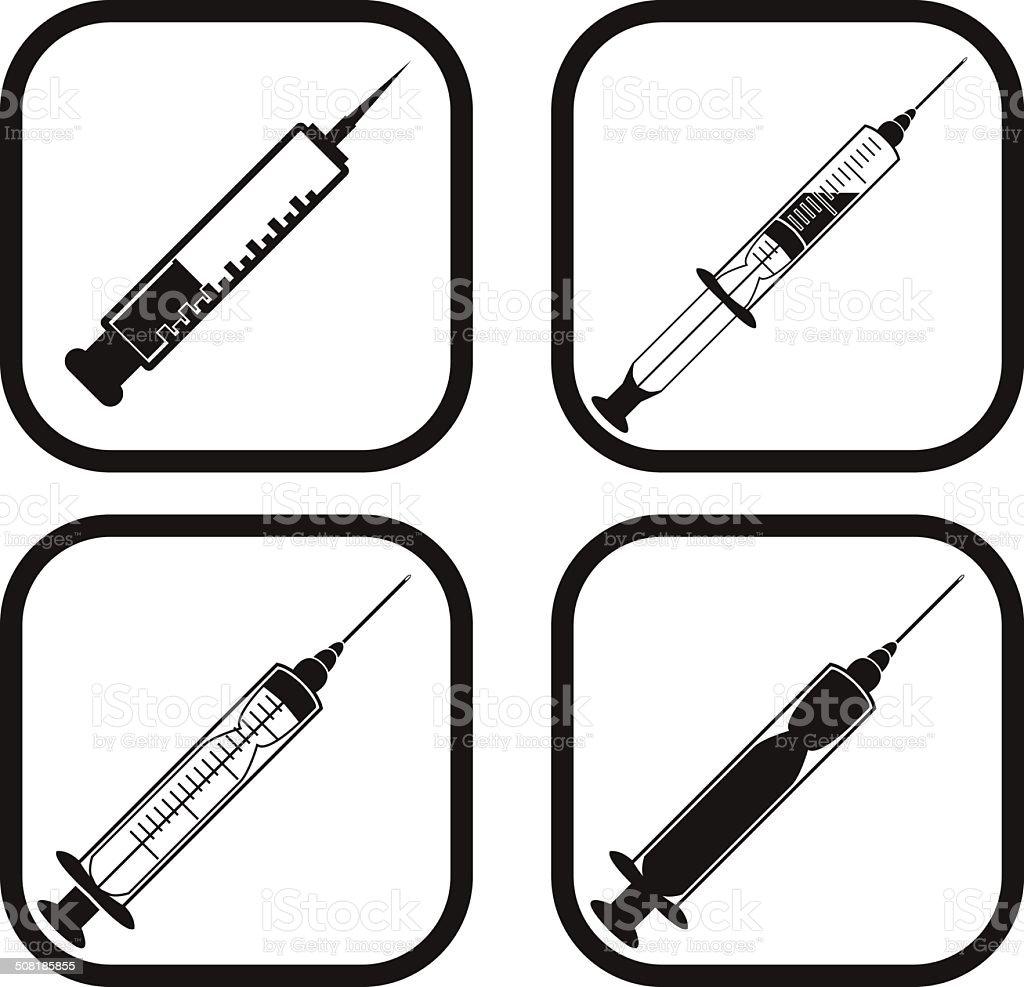 Syringe icon - four variations vector art illustration