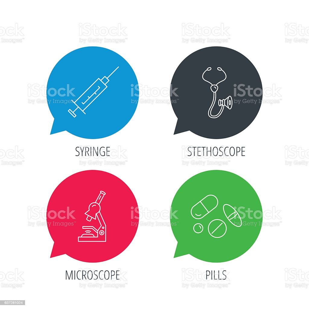 Syringe, stethoscope and microscope icons. vector art illustration