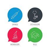 Syringe, stethoscope and microscope icons.