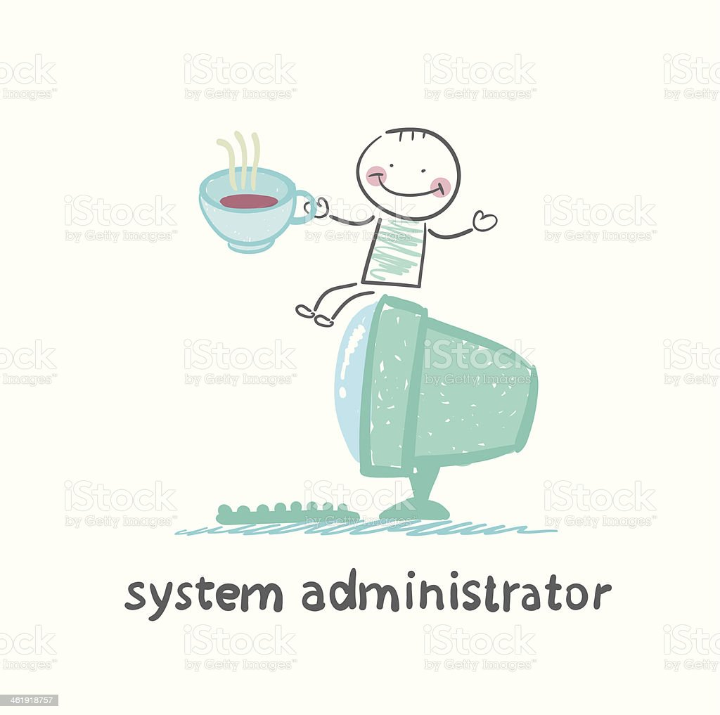 system administrator at the computer drinking coffee vector art illustration